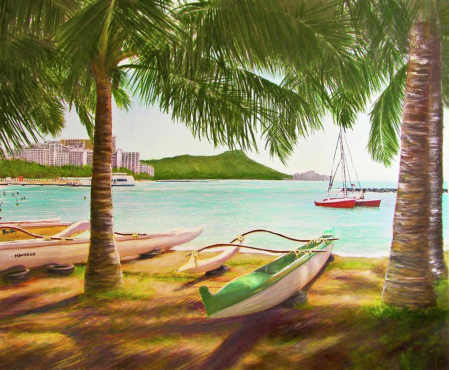 Diamond Head Painting - Waikiki Beach Outrigger Canoes 344 by Donald k Hall
