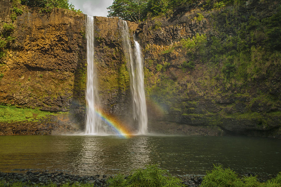 Hi Photograph - Wailua Falls Rainbow by Brian Harig