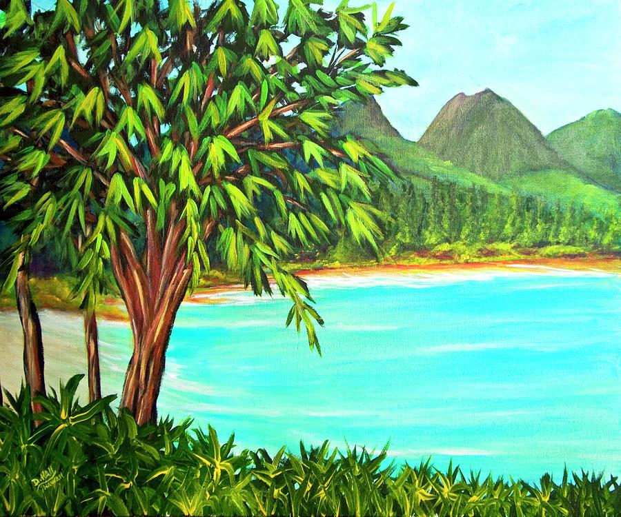 Hawaii Painting -  Waimanalo Beach Oahu #385 by Donald k Hall