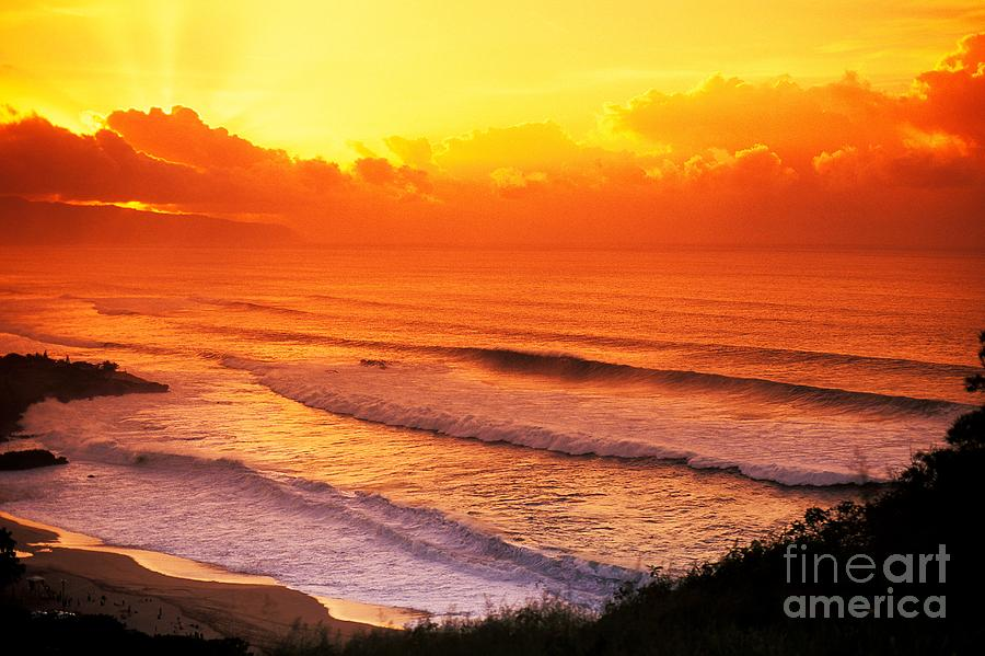 Afternoon Photograph - Waimea Bay Sunset by Vince Cavataio - Printscapes