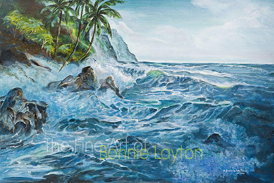 Waipio Valley Coast Print by Bonnie  Layton