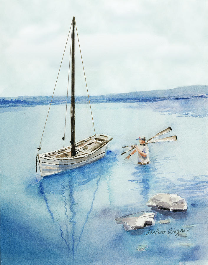 Boat Painting - Waist Deep by Arline Wagner
