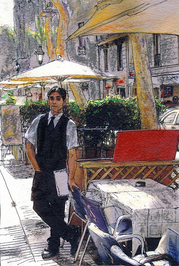 Spain Painting - Waiter on La Rambla by Randy Sprout