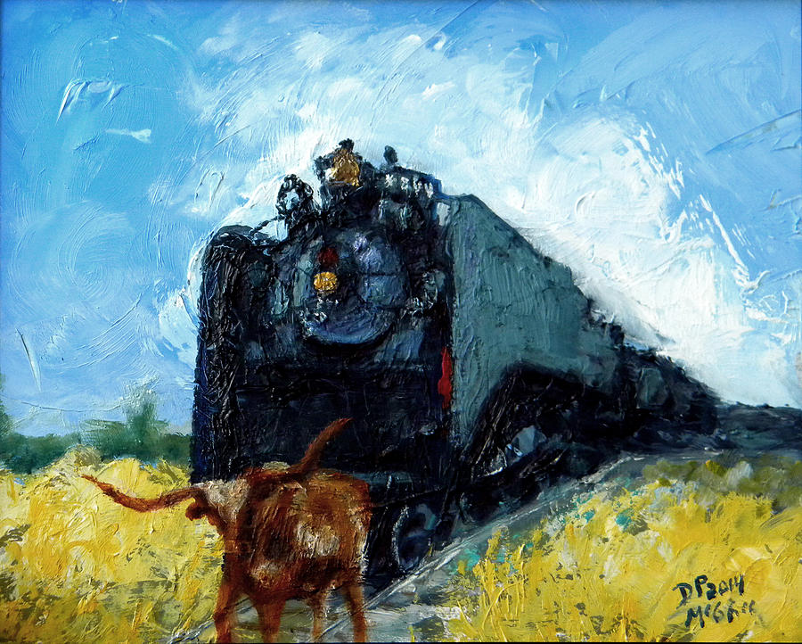 Train Painting - Waitin by David McGhee