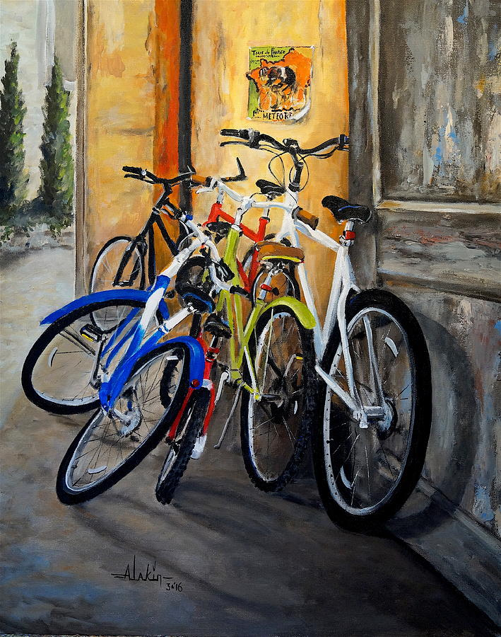 Bicycles Painting - Waiting by Alan Lakin