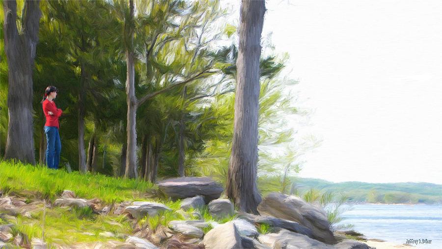Table Rock Lake Painting - Waiting Ashore by Jeff Kolker
