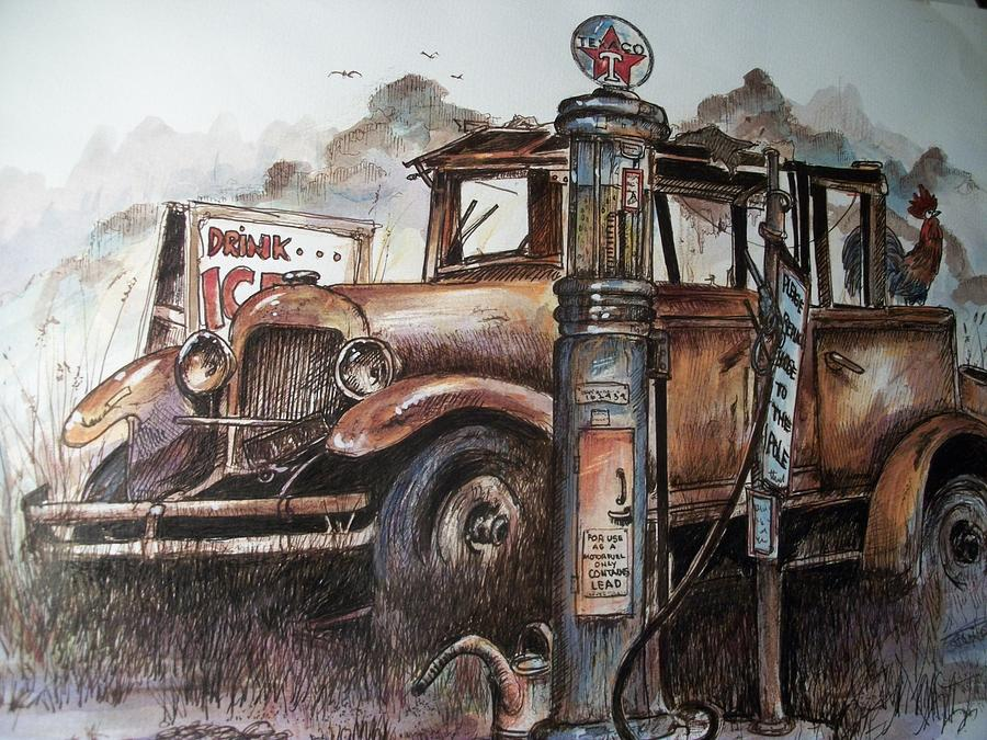 Gasoline Drawing - Waiting At The Pump by Dick  Stanton