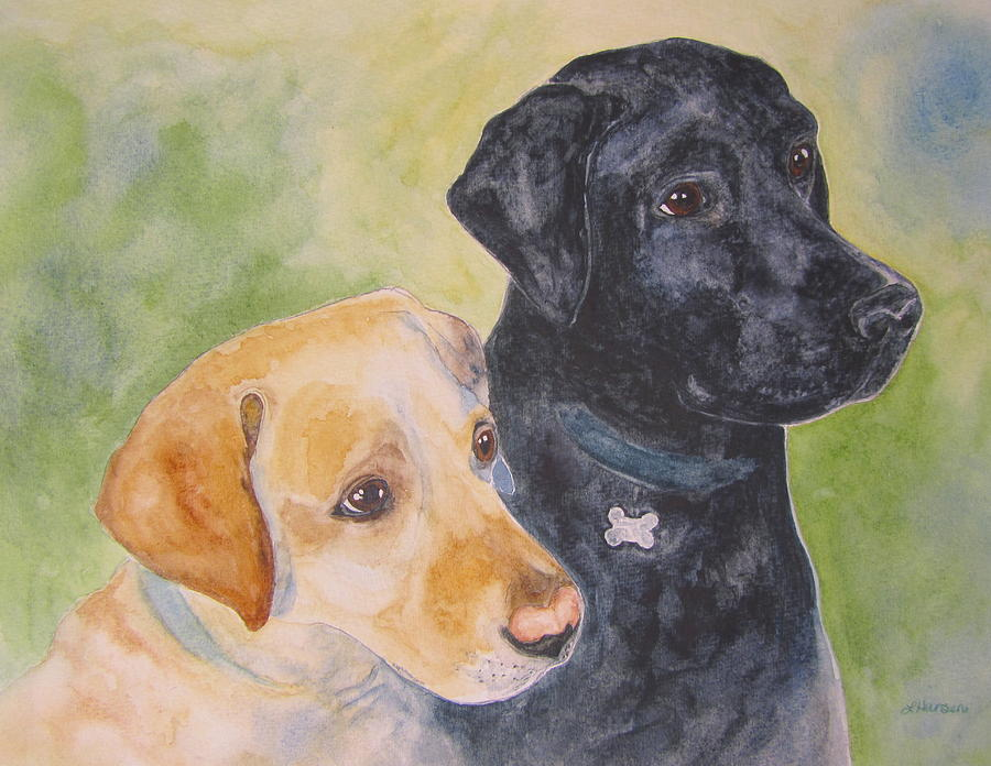 Yellow Lab Painting - Waiting For A Treat by Laura Hansen
