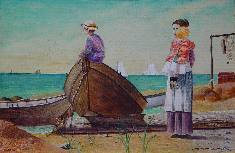 Ocean Painting - Waiting For Dad Winslow Homer by Ron Sylvia