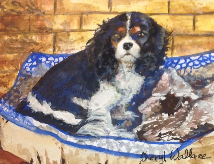 Dog Painting - Waiting For Daddy by Cheryl Wallace