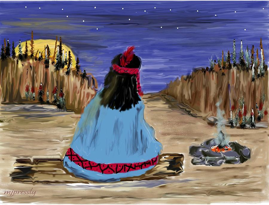 Navaho Digital Art - Waiting For Dinner by June Pressly