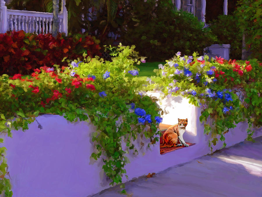 Cats Painting - Waiting For Friends by David Van Hulst