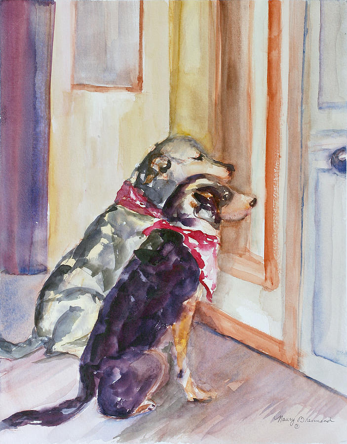 Two Dogs Painting - Waiting For Mary by Nancy Brennand