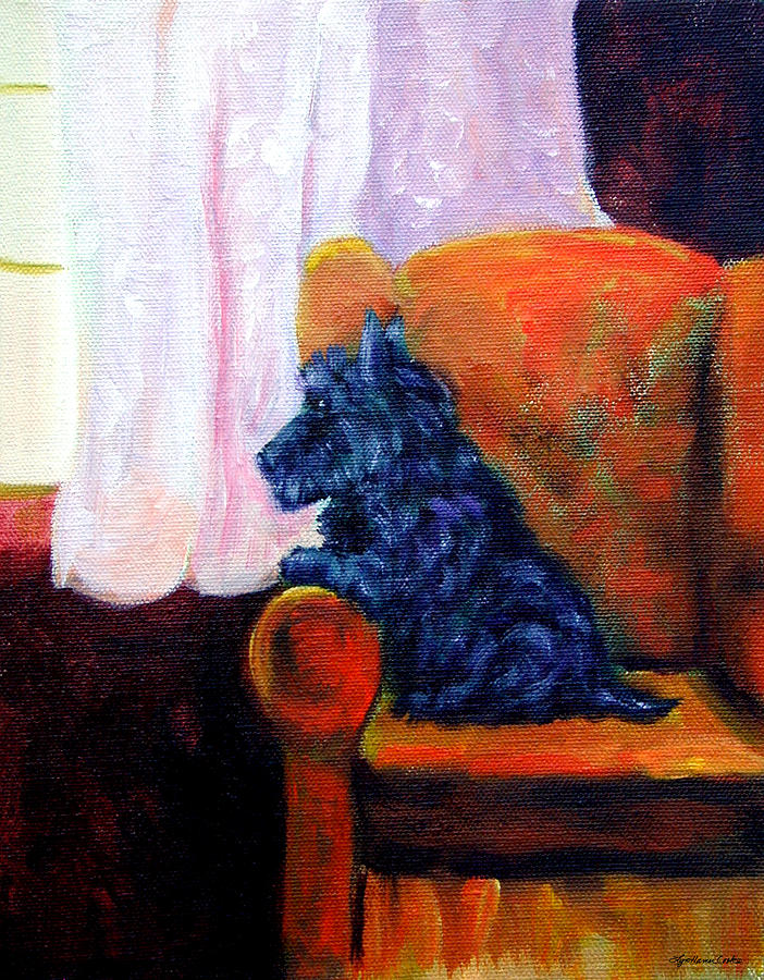 Scottish Terrier Painting - Waiting For Mom - Scottish Terrier by Lyn Cook
