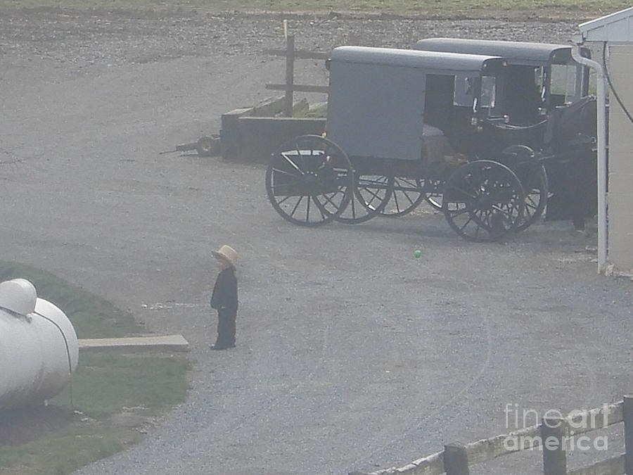 Amish Photograph - Waiting For Mom by Christine Clark