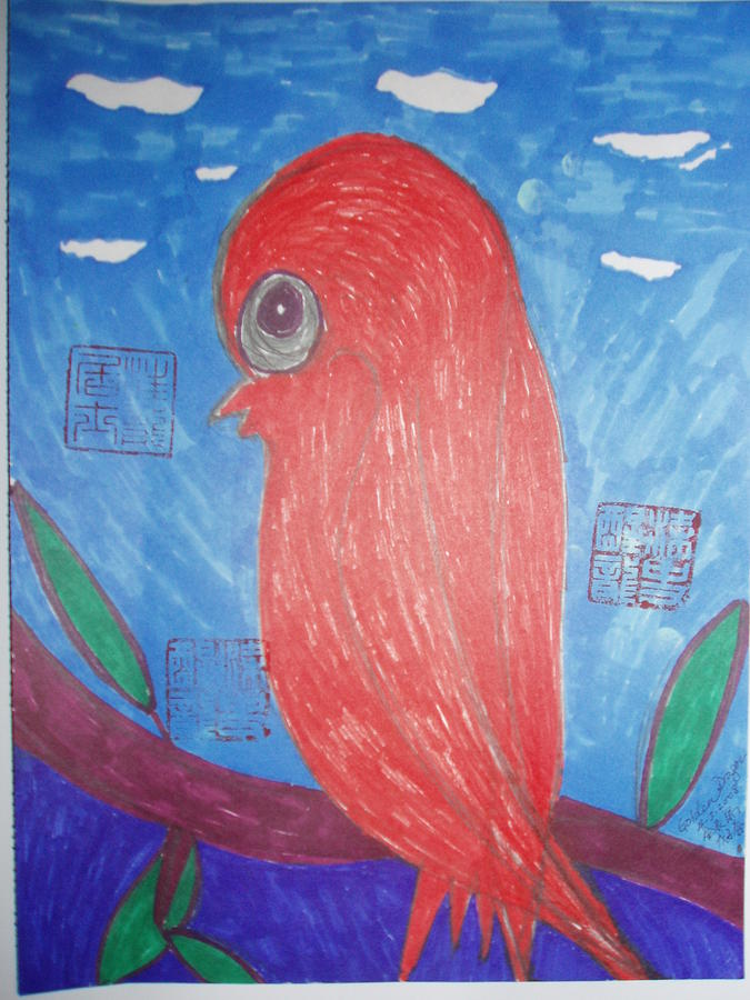 Bird Painting - Waiting For Mr. Right by Golden Dragon