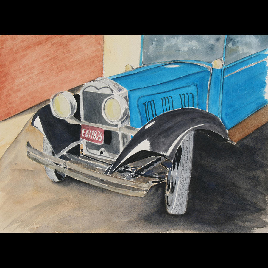 Car Painting - Waiting For My Lady by Susan Vaughan