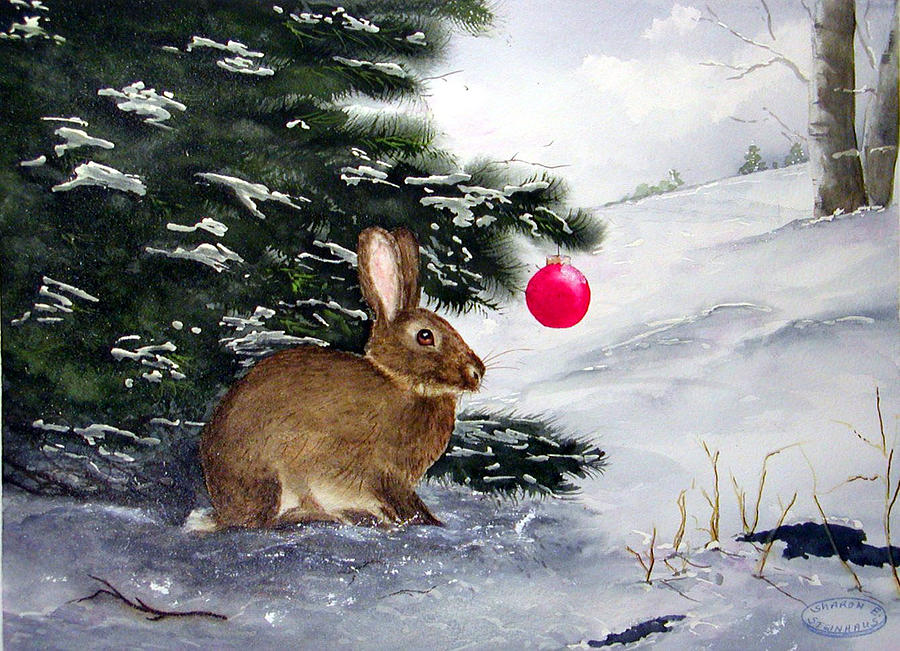 Bunny Painting - Waiting For Santa by Sharon Steinhaus