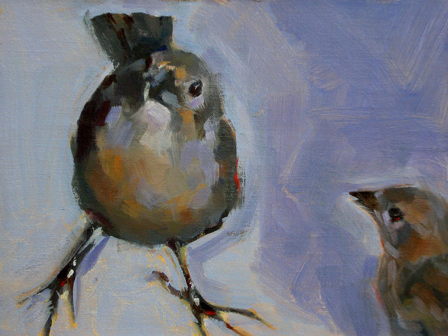 Birds Painting - Waiting For Snacks by Merle Keller