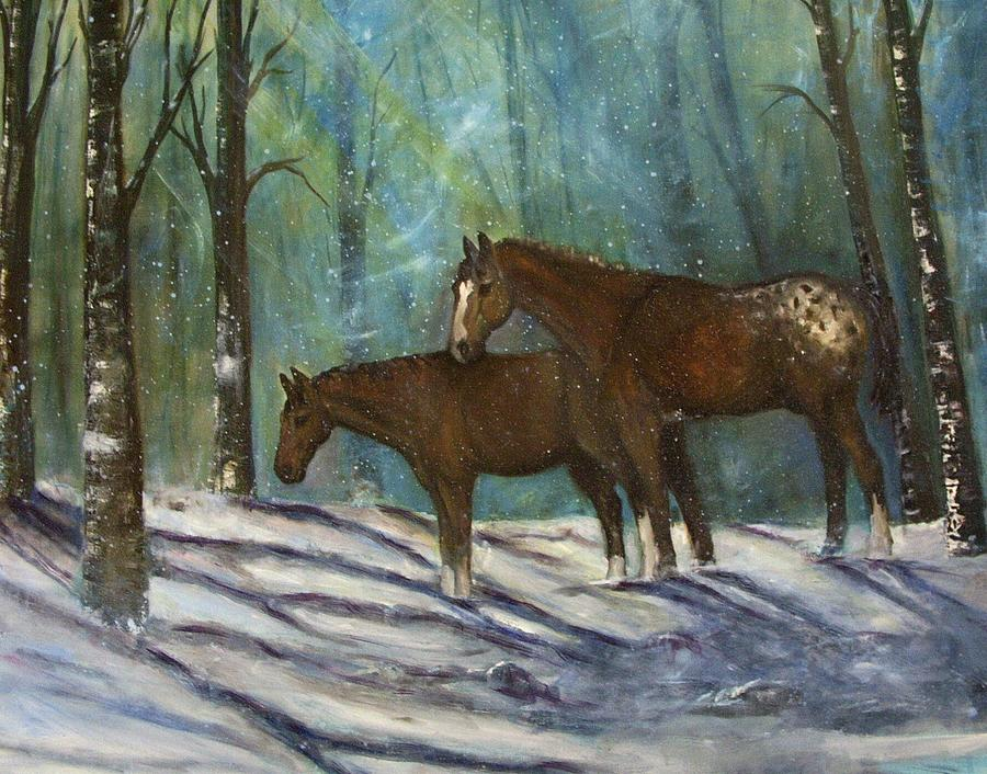 Horses Painting - Waiting For Spring by Darla Joy  Johnson