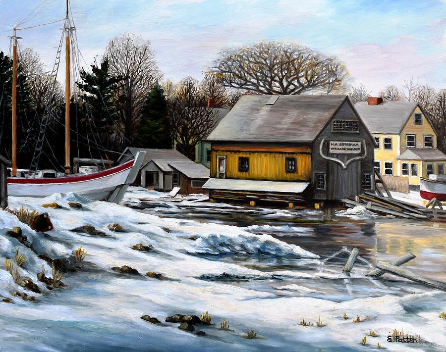 Essex Painting - Essex Boatyard, Winter by Eileen Patten Oliver