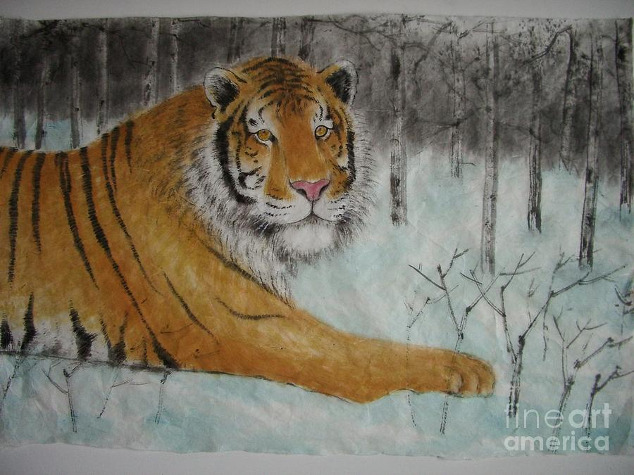 Tiger Painting - Waiting For Spring by Jian Hua Li