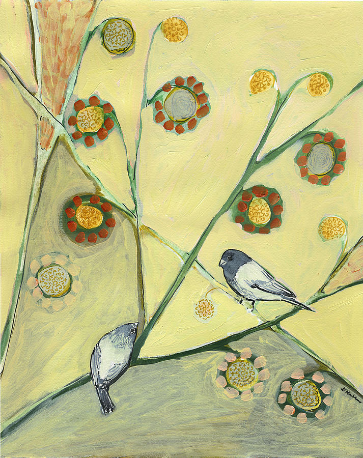 Bird Painting - Waiting For The Dance Of Spring by Jennifer Lommers