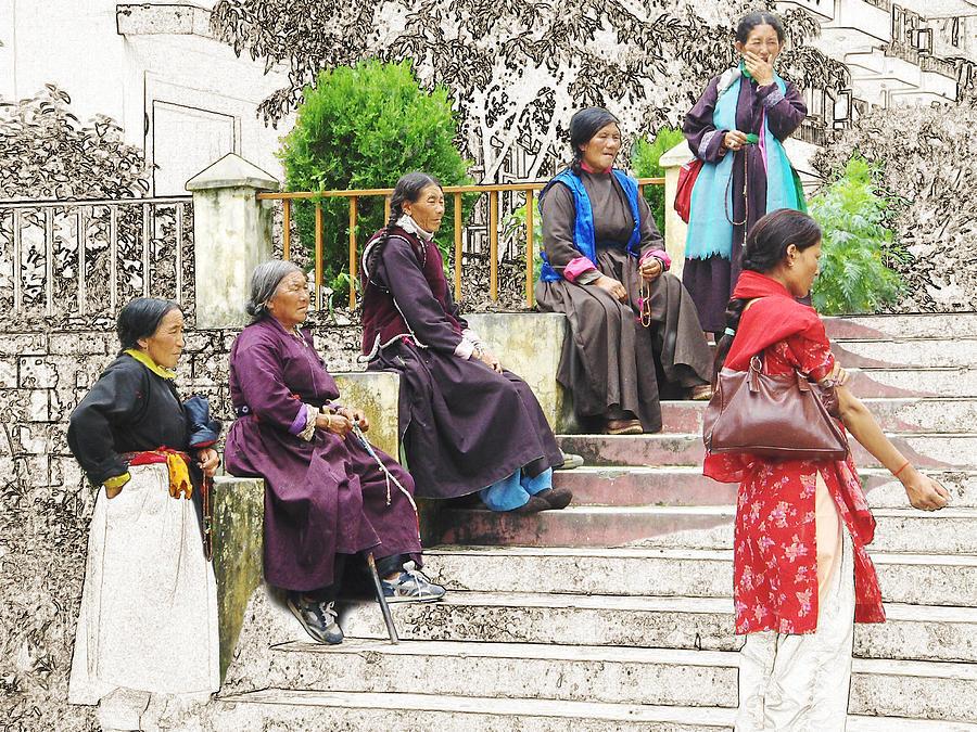 Tibet Digital Art - Waiting For The Karmappa Lama by Karla Beatty