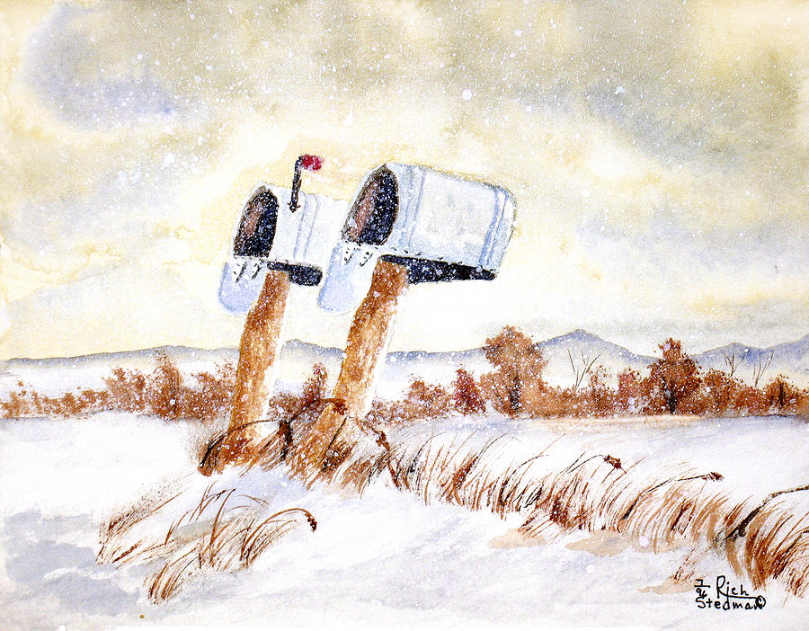 Snow Painting - Waiting For The Mail by Rich Stedman