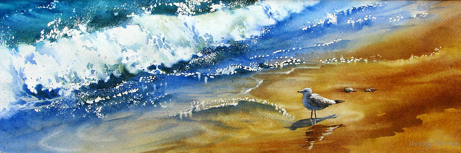 Seagull Painting - Waiting-for-the-wave by Nancy Newman