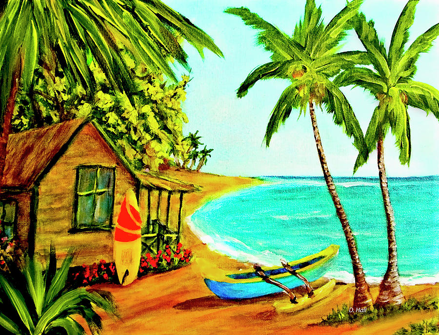 Hawaii Painting - Waiting For The Waves Hawaii #387  by Donald k Hall
