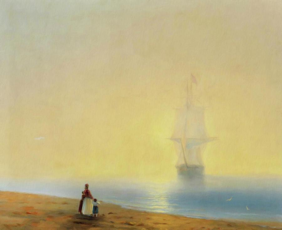 Tall Ship Mixed Media - Waiting For Your Return by Georgiana Romanovna