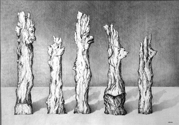 Wooden Figures Drawing - Waiting In Line by Robert Henne