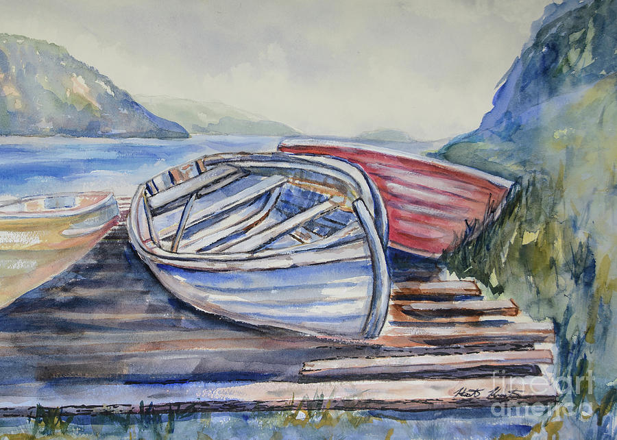 Boat Painting - Waiting In The Cove by Heather Kertzer