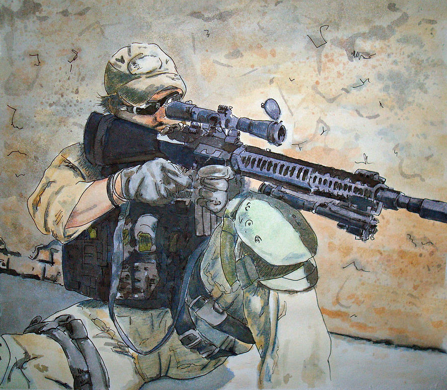 Military Painting - Waiting by Kerra Lindsey