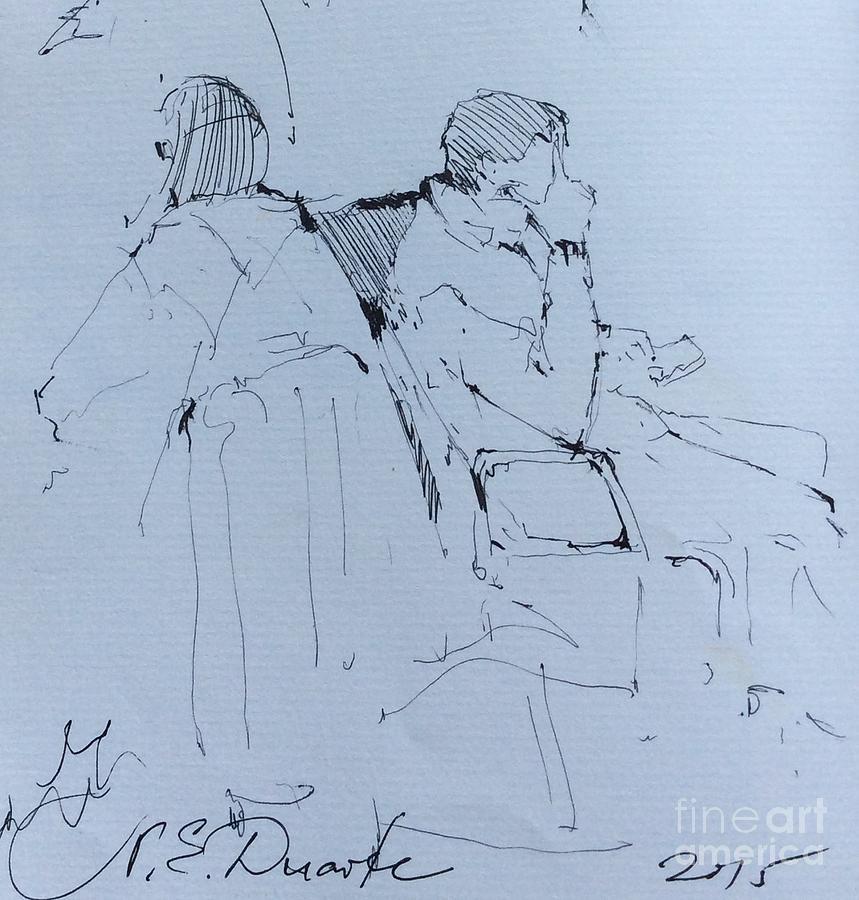 People Drawing - Waiting  by Natalia Eremeyeva Duarte