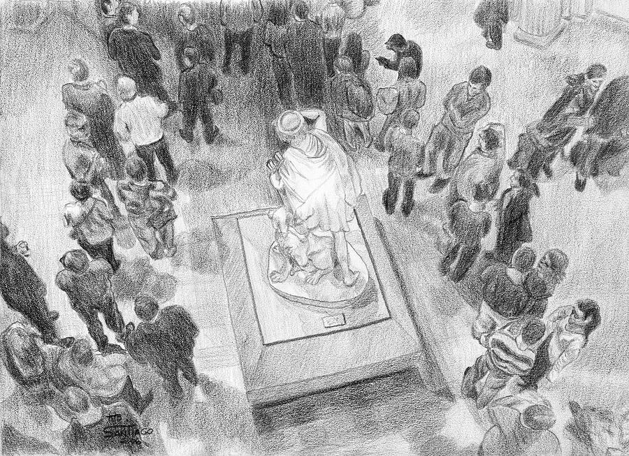 People Drawing - Waiting On Line At The Museum by Tito Santiago