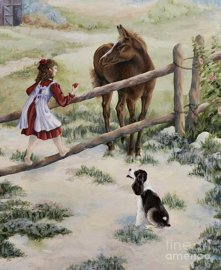 Children Painting - Waiting Patiently by Kathleen Keller