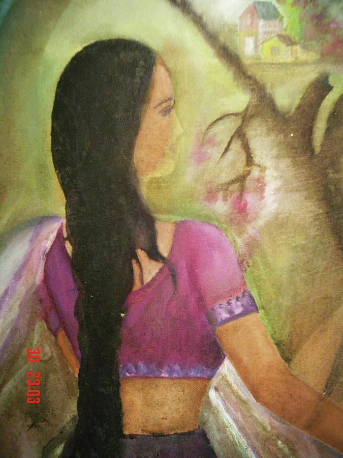 Woman Painting - Waiting by Sapna Dogra Singh