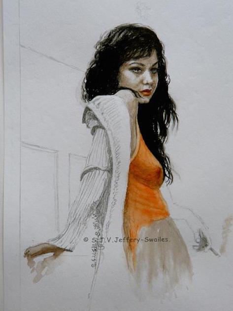 Figure Painting Painting - Waiting. by SJV Jeffery-Swailes