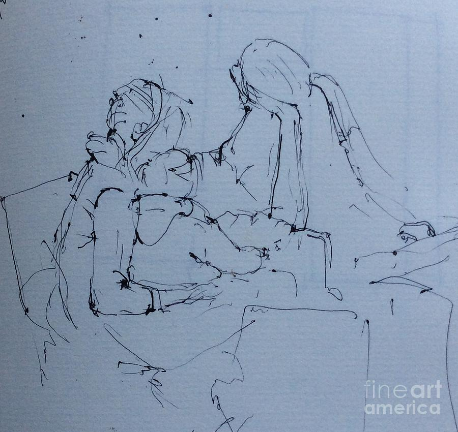 Pen Drawing - Waiting The Train by Natalia Eremeyeva Duarte
