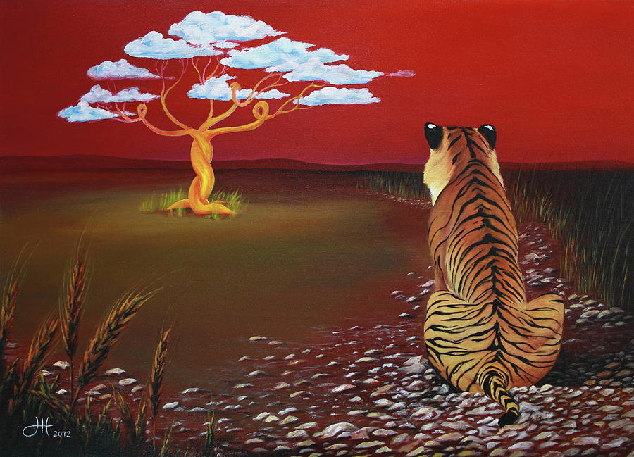 Waiting Tiger Painting