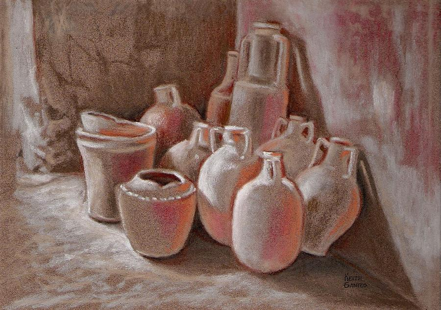 Jars Drawing - Waiting To Be Used by Keith Gantos
