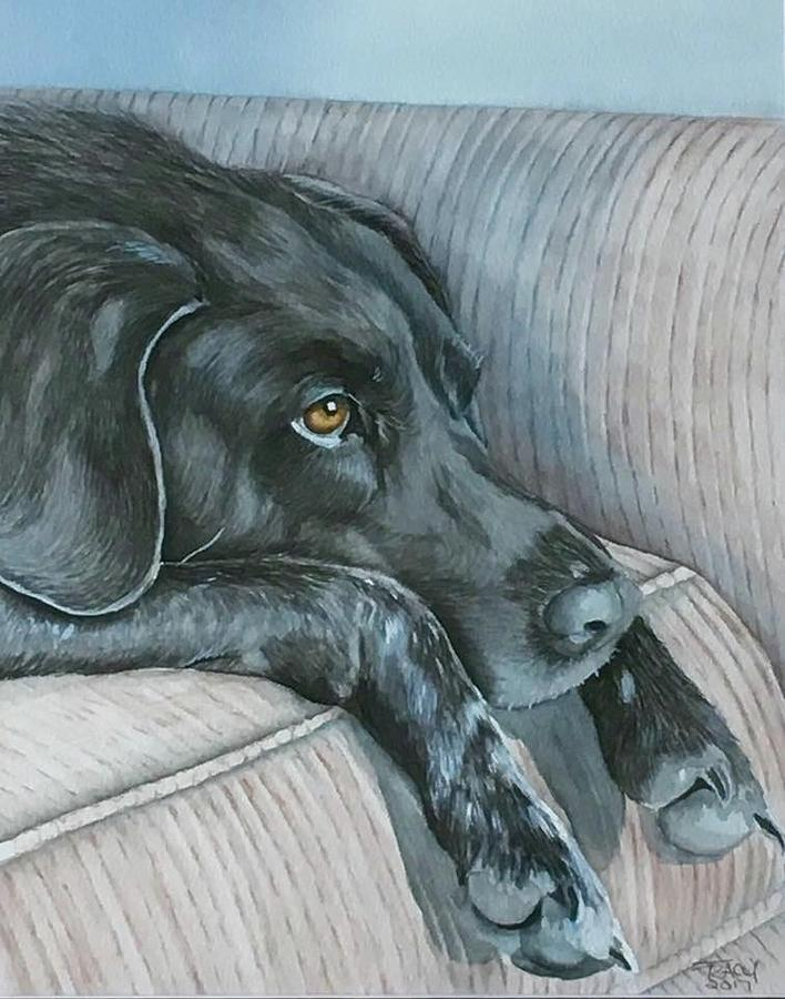Dog Painting - Waiting by Tracy Anthony