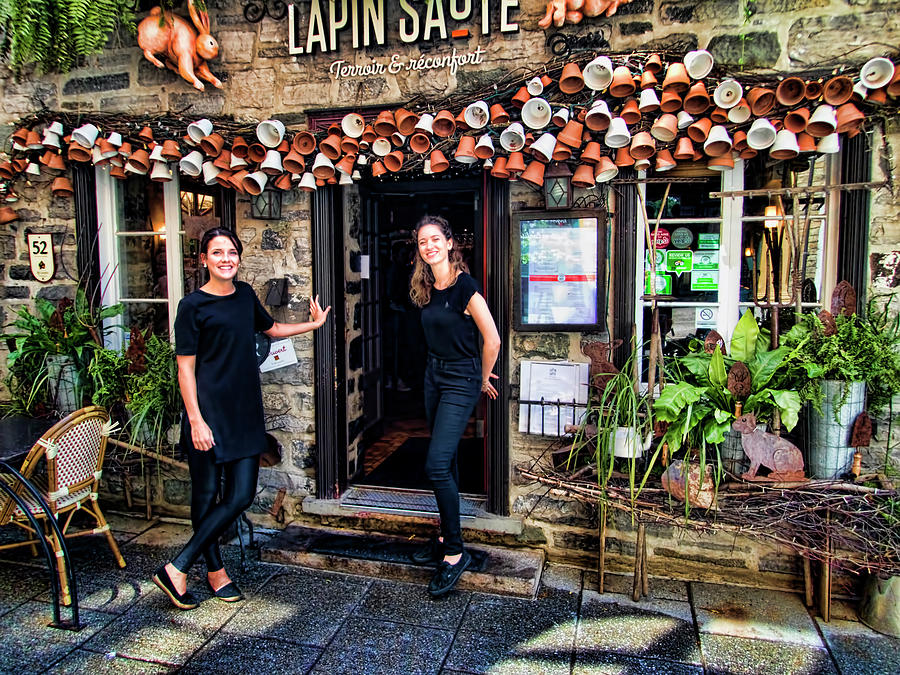 Green Photograph - Waitresses At Outdoor French Terroir In Old Quebec City by David Smith