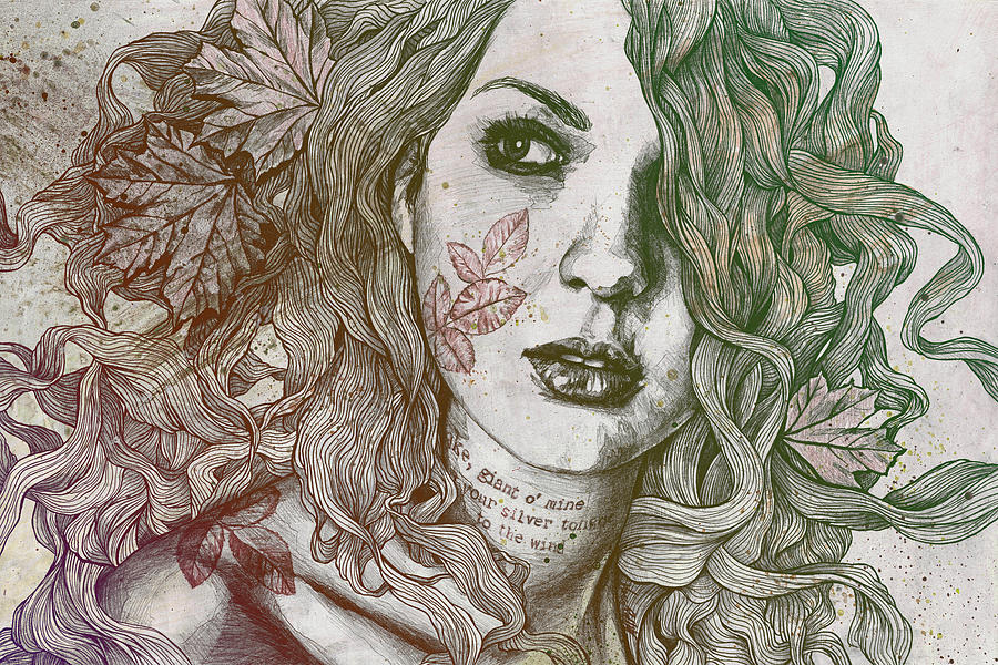 Graffiti Drawing - Wake - Autumn - Street Art Woman With Maple Leaves Tattoo by Marco Paludet