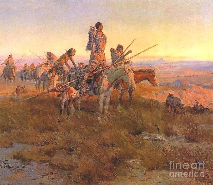Tribal Painting - Wake Of The Buffalo Runners by Pg Reproductions