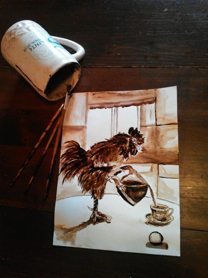 Rooster Painting - Wake Up Call by Nathanael Manzer