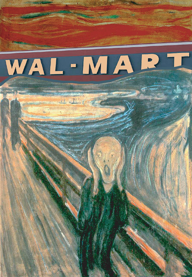 Walmart Mixed Media - Wal-Mart Scream by Ricardo Levins Morales