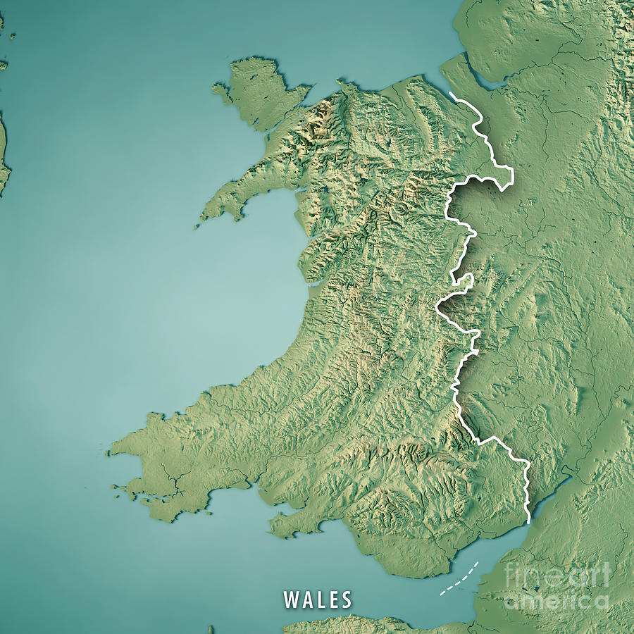 3d Terrain Map Of Uk.Wales Country 3d Render Topographic Map Border Digital Art By